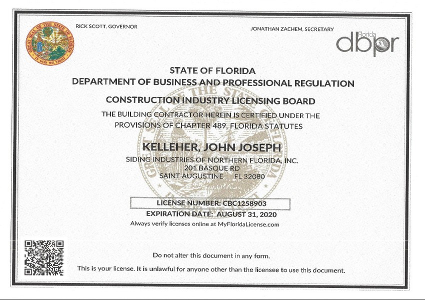 Siding Industries Jacksonville Certification CBC Contractors License