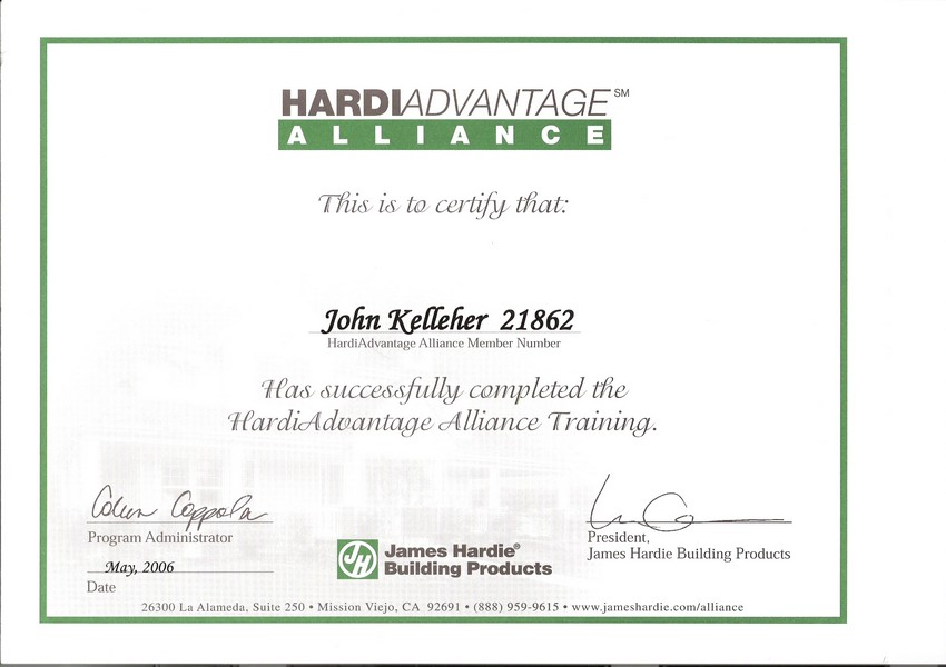 Siding Industries Jacksonville Certification Hardie Brd Certified
