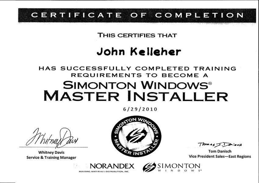 Siding Industries Jacksonville Certification Simonton Window Master Installer